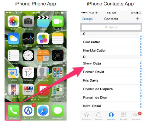 iPhone Phone & Contacts Apps